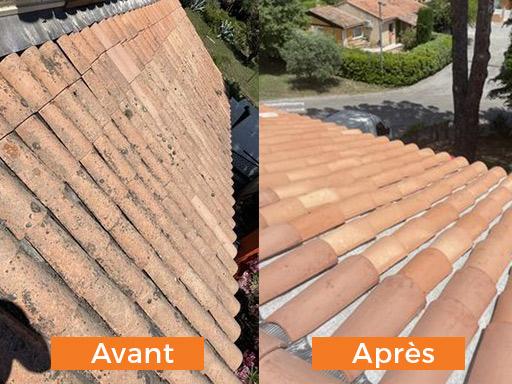 Nettoyage toiture avant après